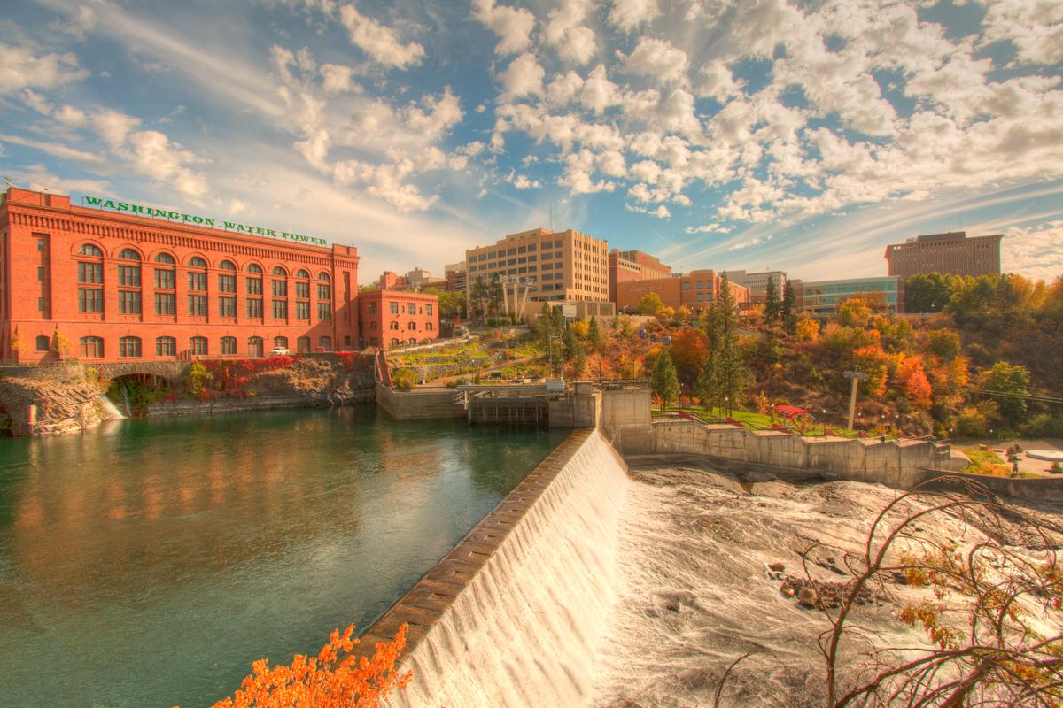 lower Spokane Falls and Washington Water Power building
