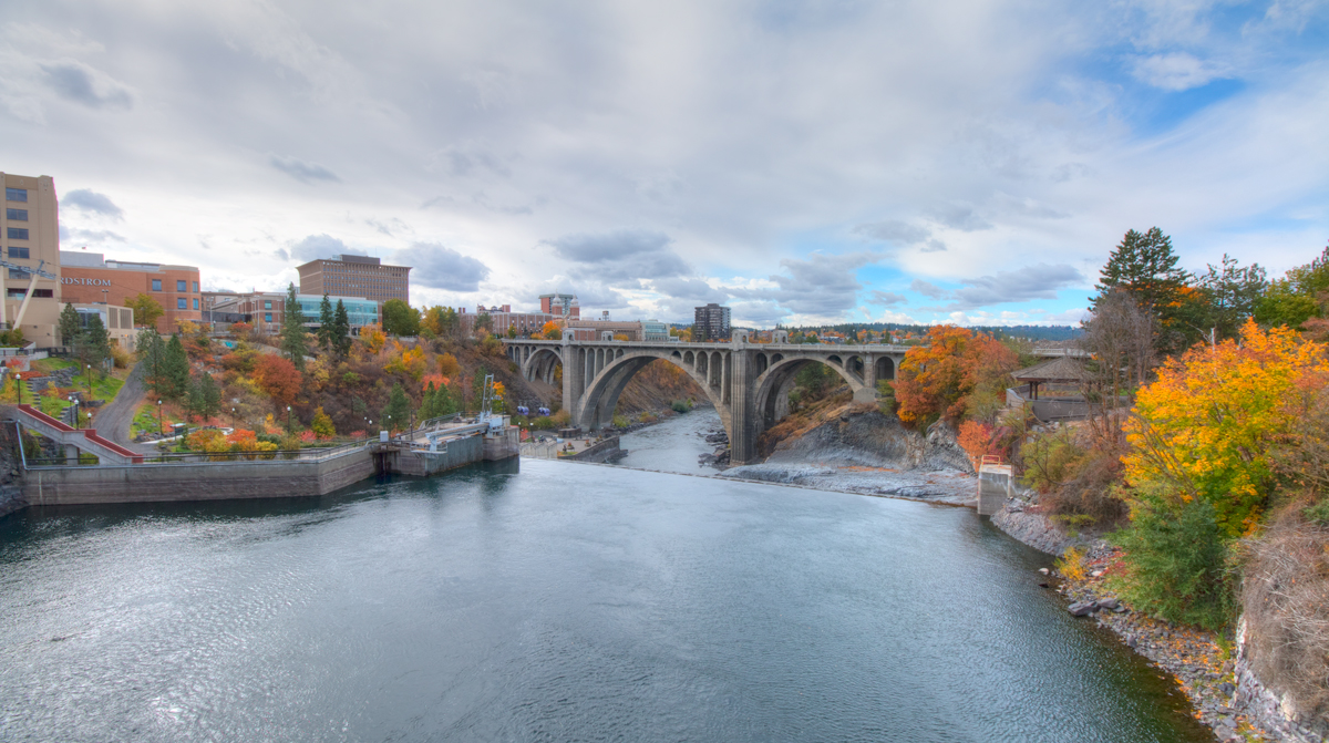 Spokane River and the Monroe Street Bridge