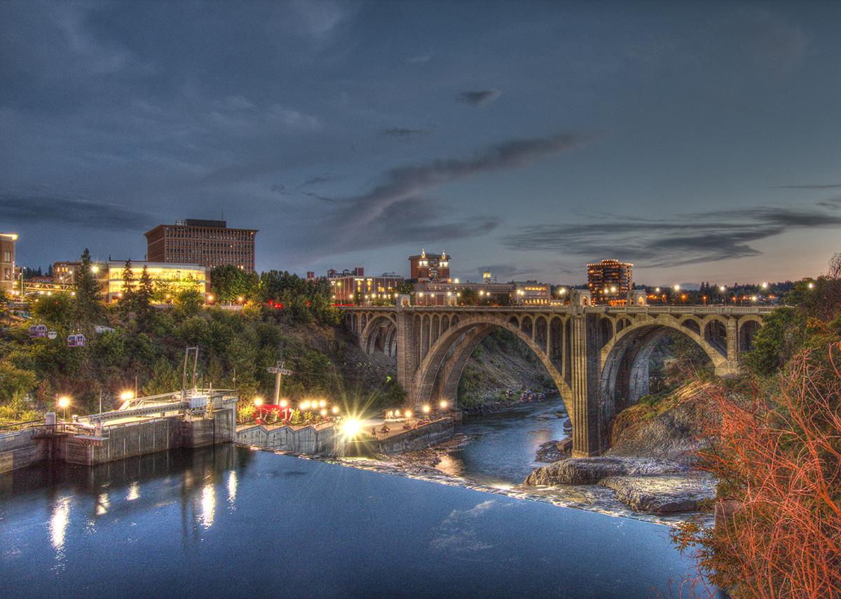 Monroe Street Bridge at night