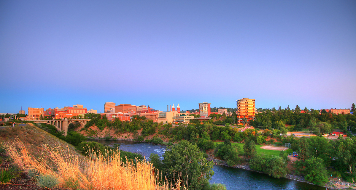 downtown Spokane Washington looking from Kendall Yards