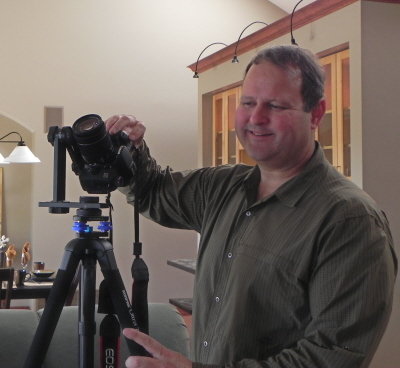 Todd Hays with camera on tripod