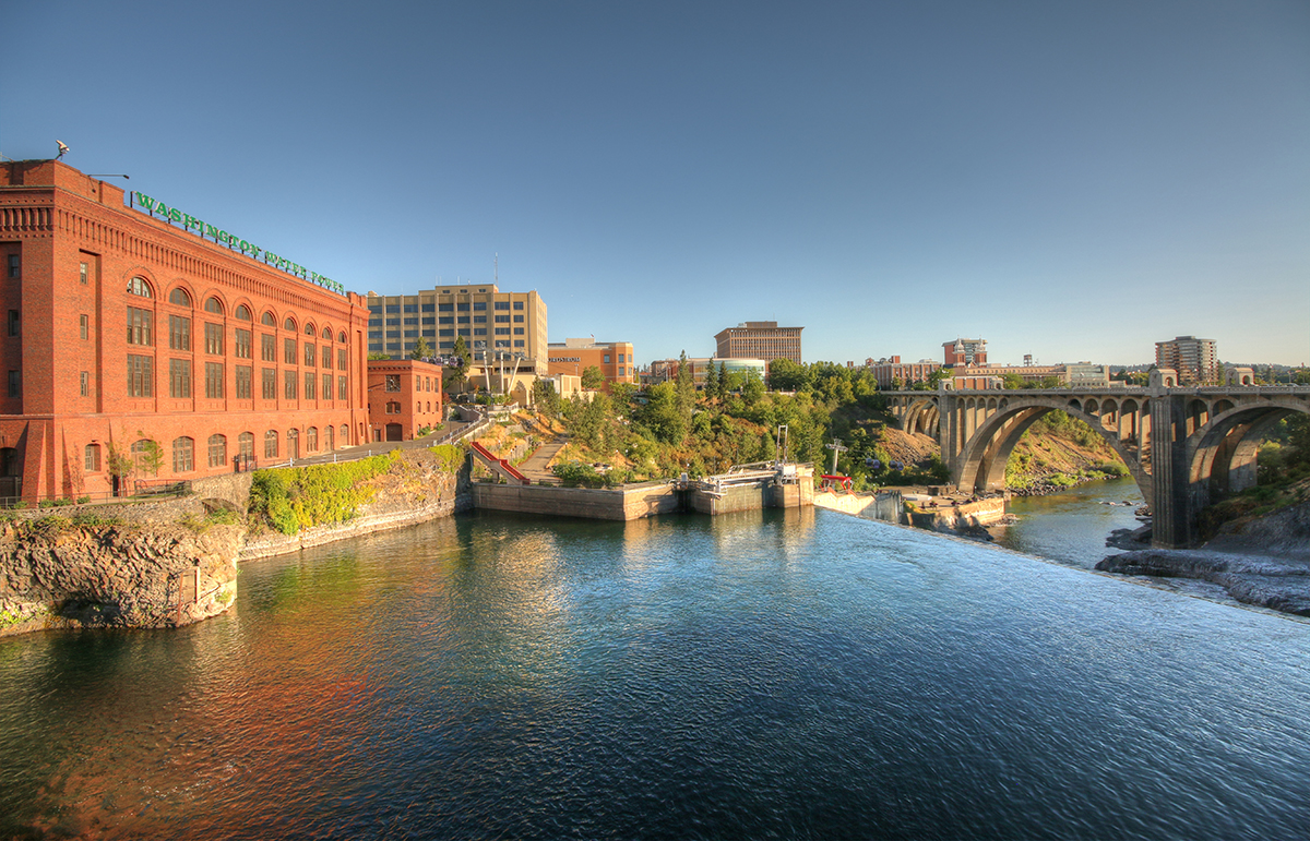 The Lower Spokane Falls and the Washington Water Power building